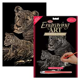 Engraving SCRAPERFOIL Scratch Art Kit COPPER FOIL Engrave TIGER AND CUBS
