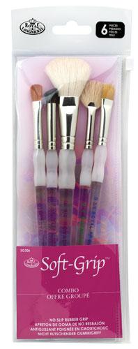 Royal Brush Soft Grip White Taklon Hair Soft Rubber Grip Paint Brush Set Size,