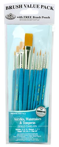 Royal /& Langnickel Royal Zip N Close Gold Taklon Detail 6-Piece Brush Set Royal Brush Manufacturing Company RSET-9139